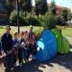 Trois familles tchétchènes campent devant le métro à Toulouse